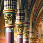 Madeleine Pillars with murals framed between