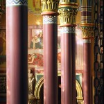Madeleine Pillars with murals framed  between 2