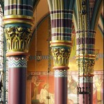 Madeleine  west nave pillars with mural(1)