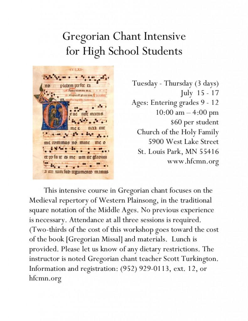 Gregorian Chant Intensive