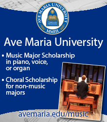 Music scholarships at Ave Maria University: avemaria.edu/music
